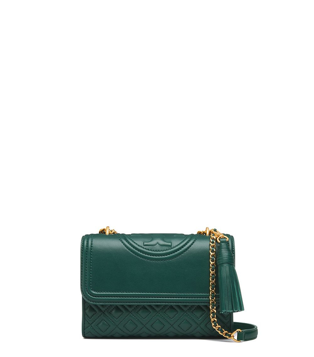 3c9aa36caaa3 Tory Burch Fleming Small Convertible Shoulder Bag in Green - Lyst