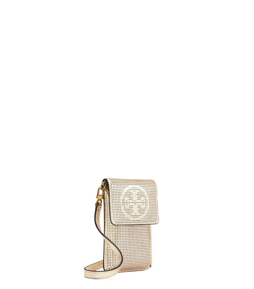5a6a864a68a Lyst - Tory Burch Perforated Logo Metallic Phone Cross-body in Metallic