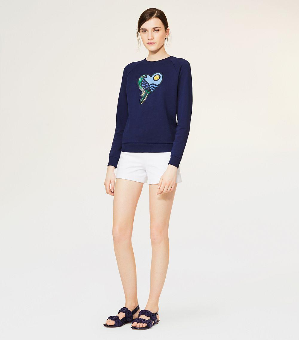 Lyst tory burch noah sweatshirt in blue for Tory burch fashion island