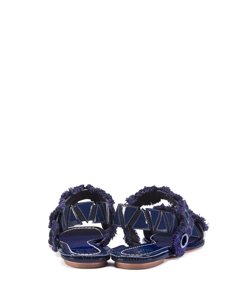 Lyst Tory Burch Freya Eyelet Flat Sandal In Blue