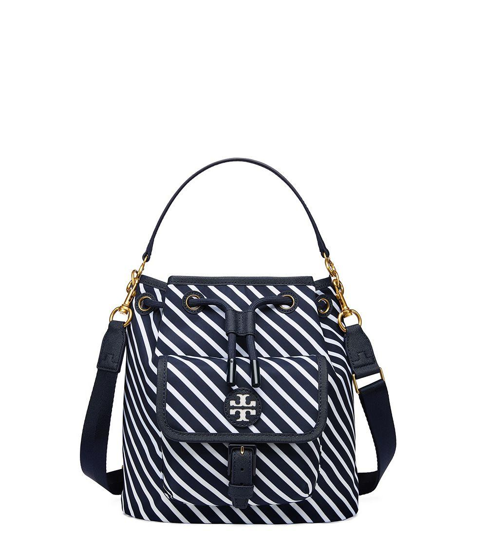 tory burch scout stripe drawstring cross body in blue lyst. Black Bedroom Furniture Sets. Home Design Ideas