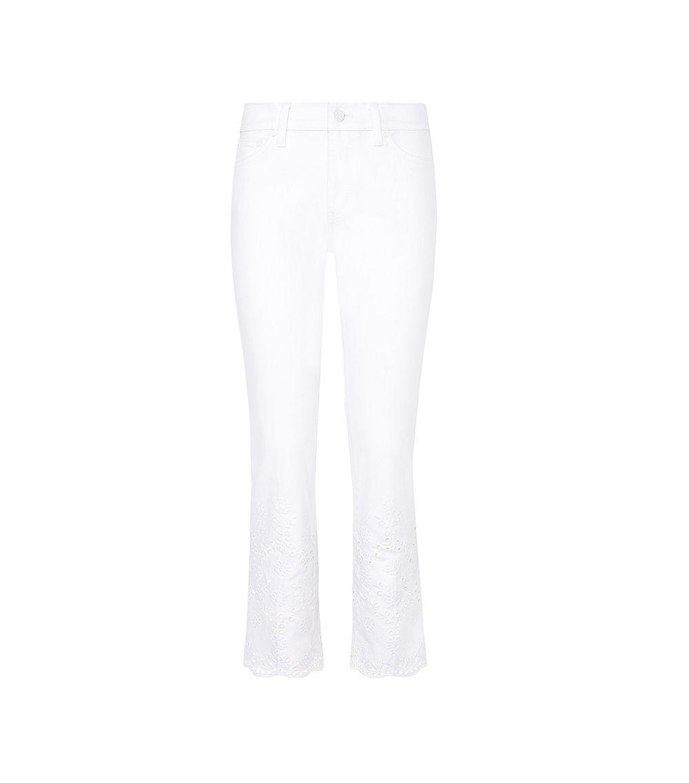 Tory burch Mateo Scalloped Cropped Jean in White