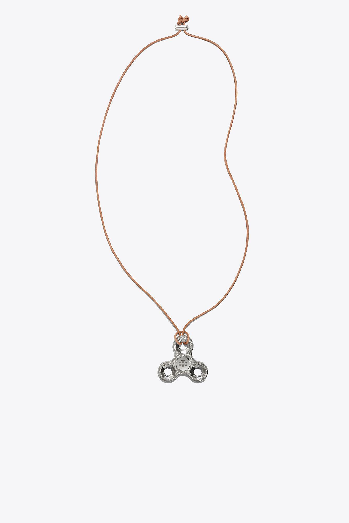 Geo Multi Necklace in Tory Silver Brass and Leather Tory Burch n8JbjLc3