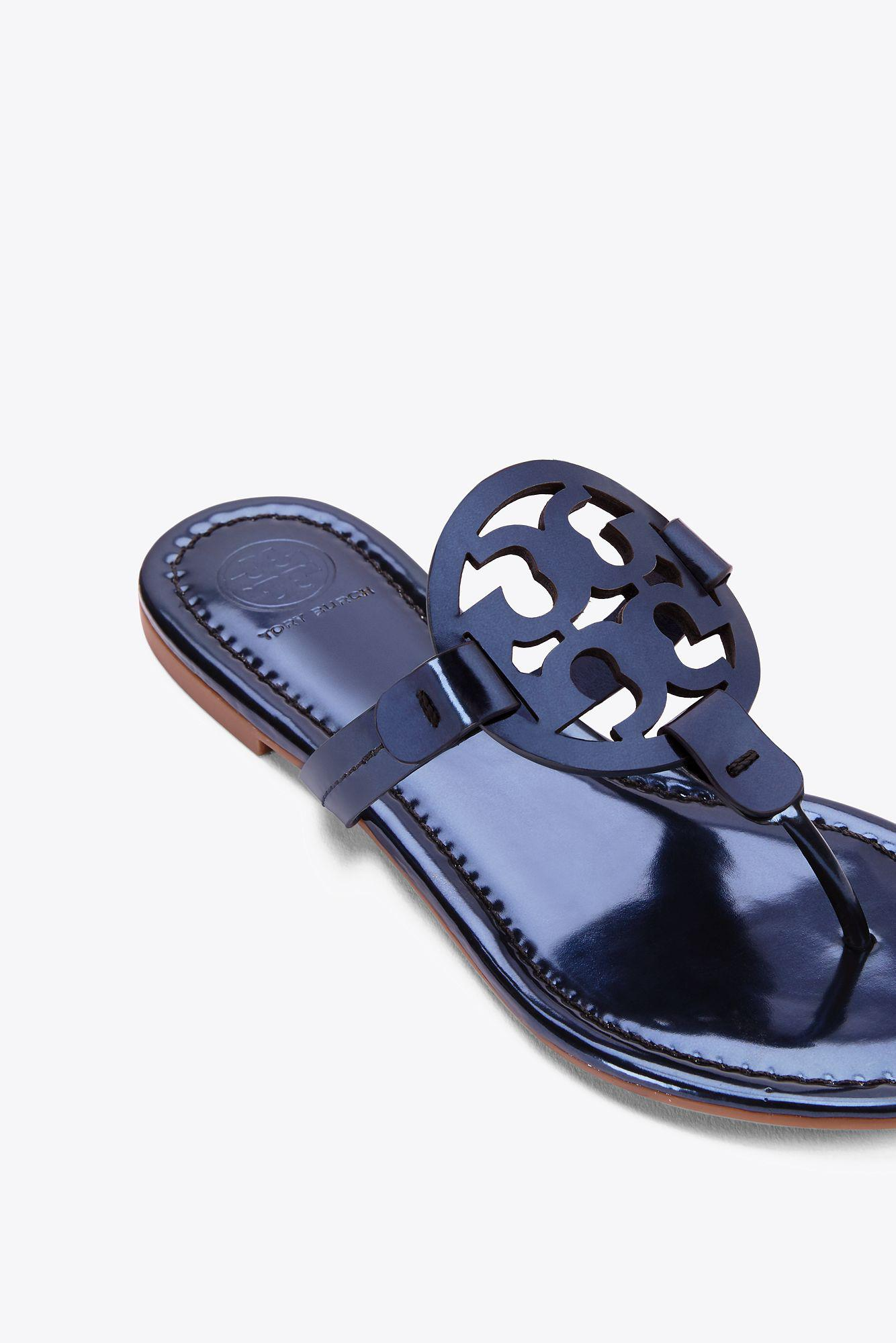 3bb6c8a940b5e ... coupon for lyst tory burch miller sandal metallic leather in blue 9fd23  a6b67
