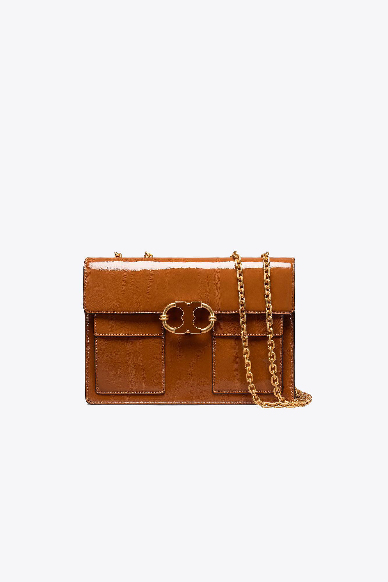 d5c8ecb9c97 Tory Burch Gemini Link Patent Medium Chain Shoulder Bag in Brown - Lyst