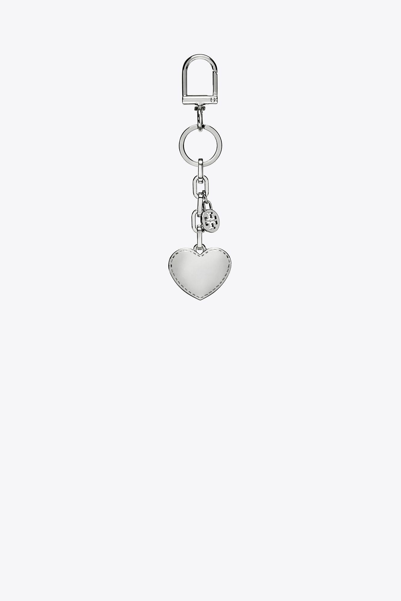93c72e79b6f3 Tory Burch Logo And Heart Metal Key Fob in Metallic - Lyst