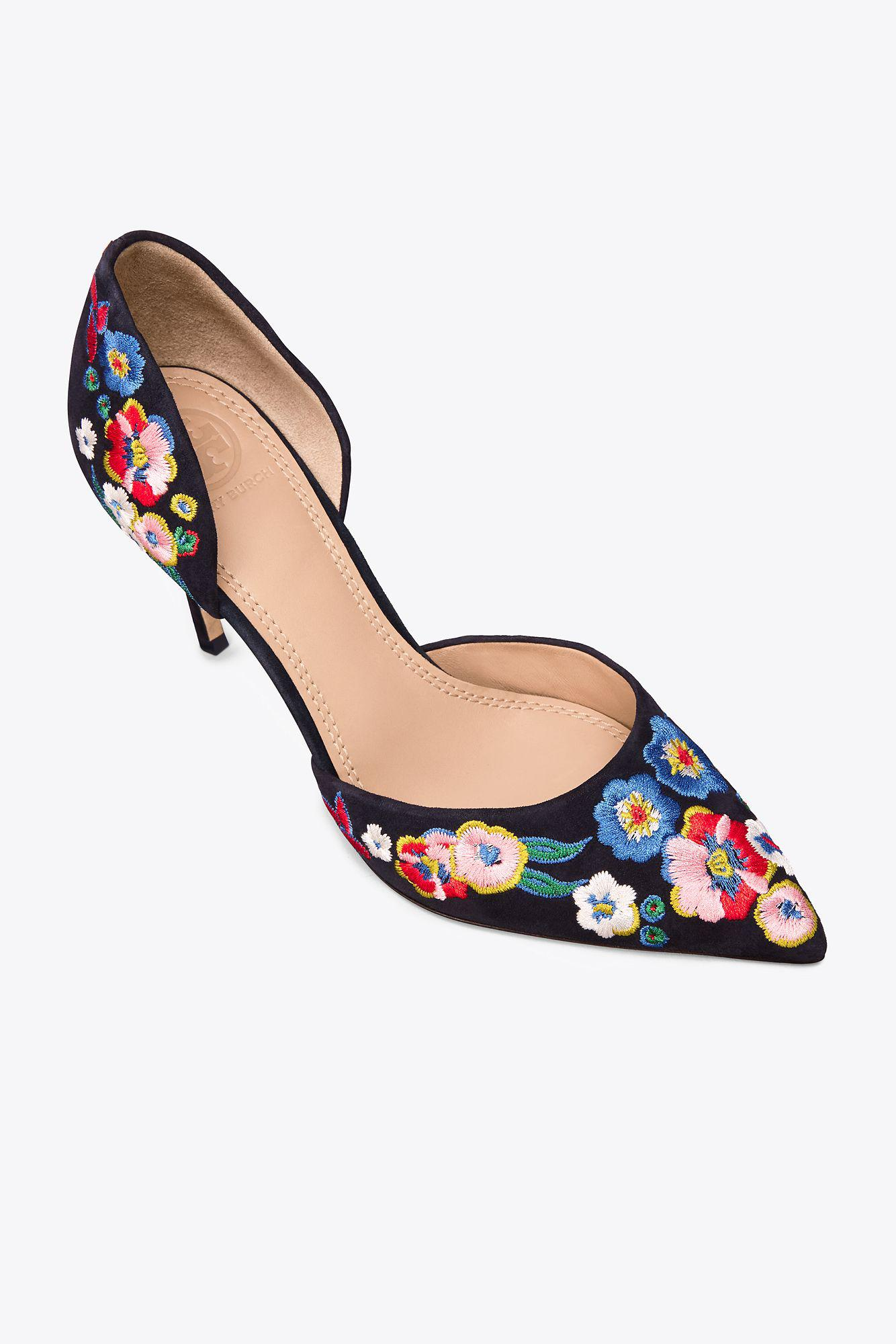 0445d90f0 Tory Burch Rosemont Embroidered D orsay High-heel Pumps in Blue - Lyst