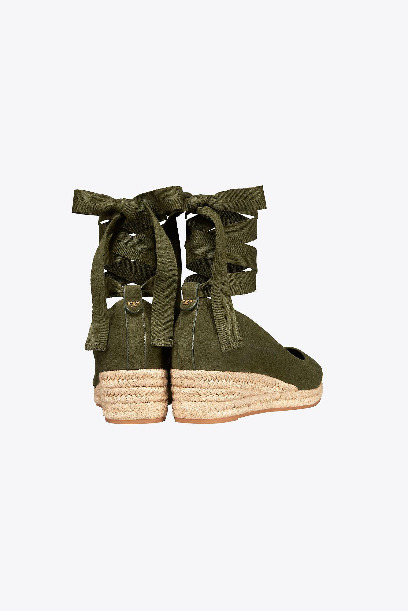 a0358faa1 Tory Burch - Green Heather Suede Wedge Espadrille - Lyst. View fullscreen