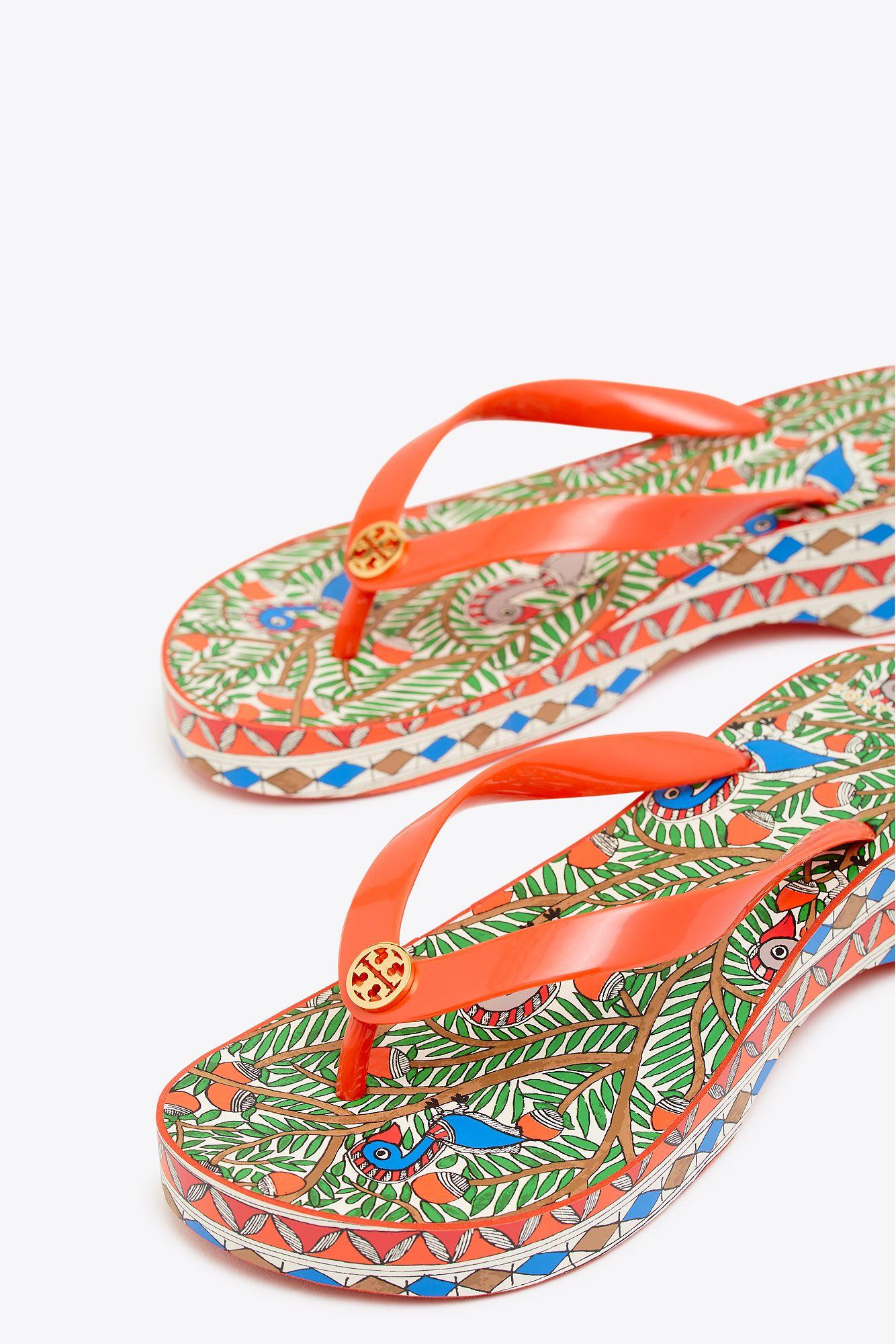 9fa7dc3d3 Tory Burch - Cut Out Wedge Flip-flop (spicy Orange orange Something Wild.  View fullscreen