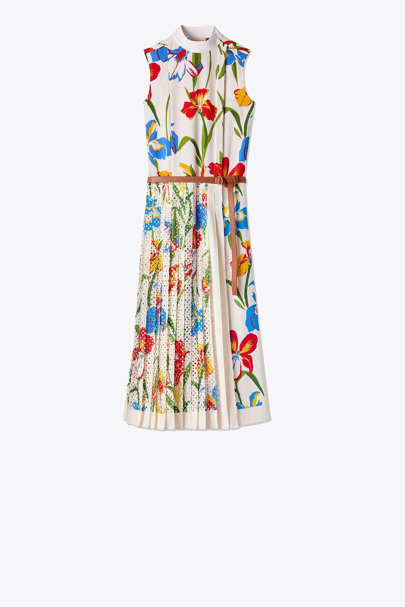 Carine Printed Crepe Midi Dress - Ivory Tory Burch FgrmJXlWFl