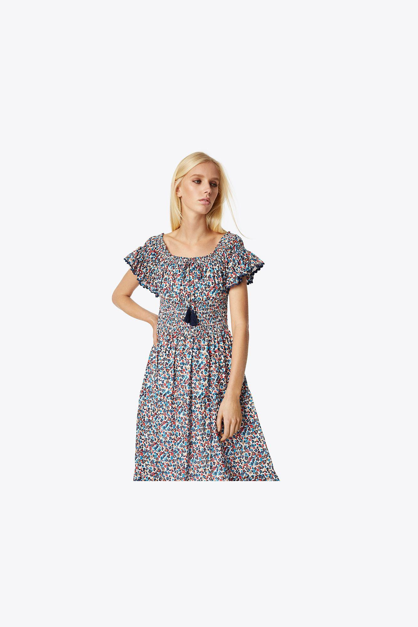 4b105a6136d6 Tory Burch Wildflower Smocked Dress | 986 | Dress in Blue - Lyst