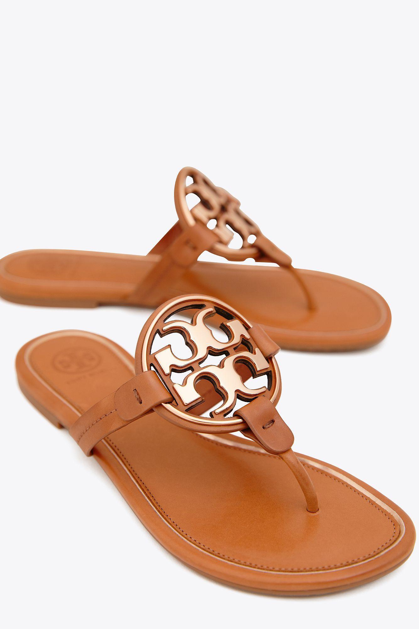 6e2e9d7f275ea Tory Burch - Brown Miller Metal-logo Sandal