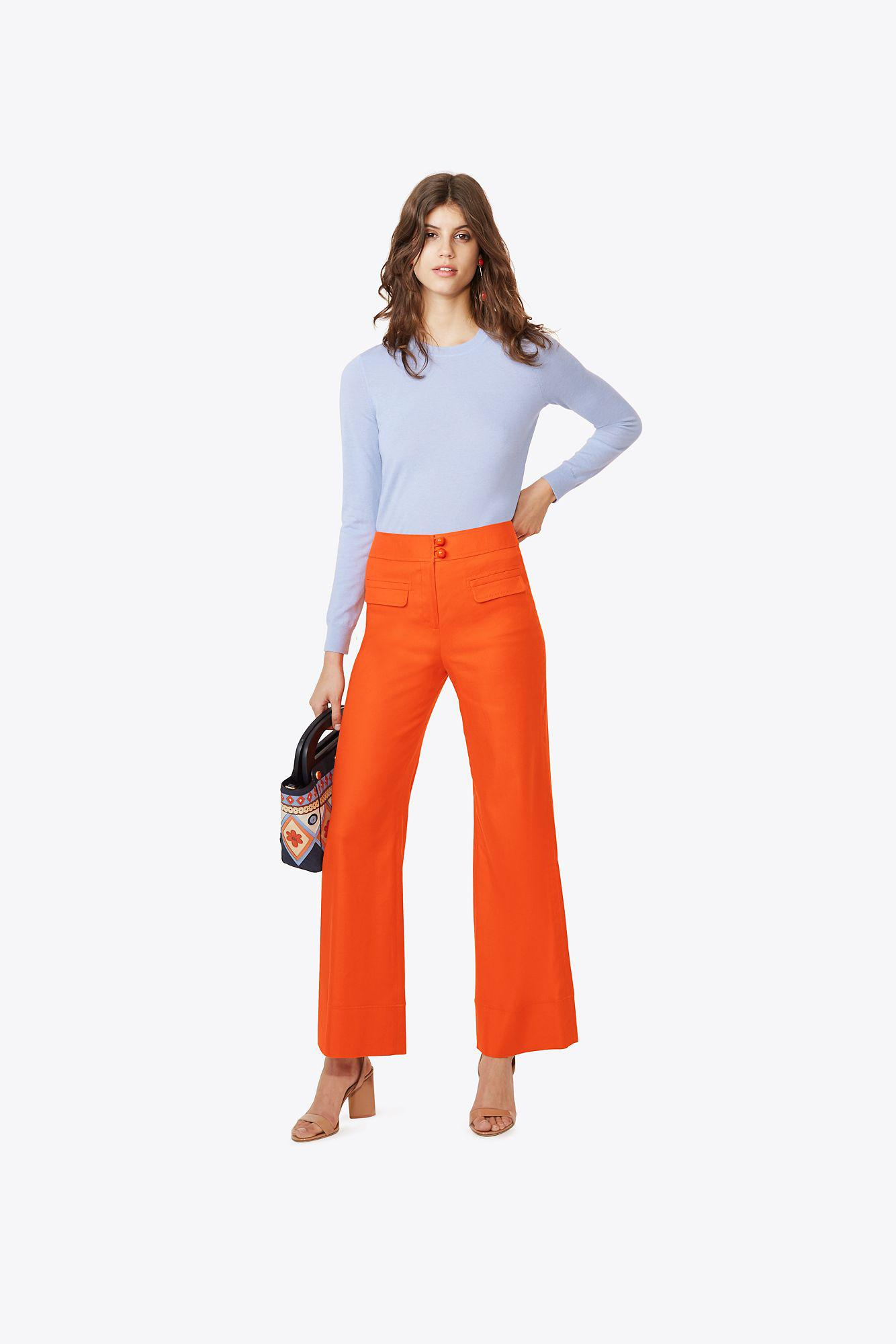 Lyst tory burch iberia cashmere sweater in blue for Tory burch fashion island