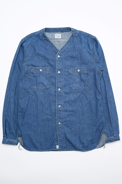 04ef8fe9b8 Lyst - Orslow No Collar Denim Shirt in Blue