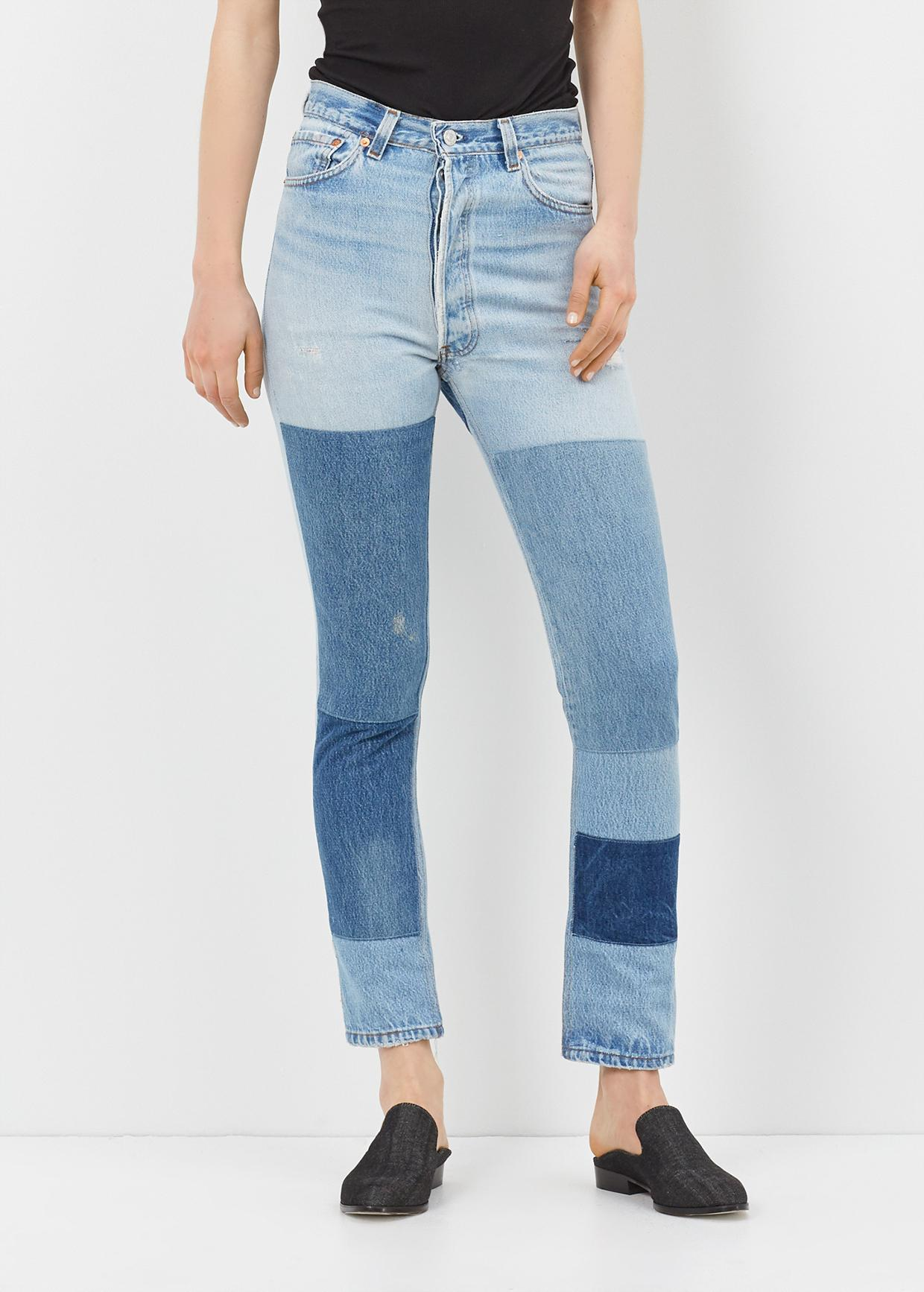 Re/done Denim High Rise Denim Patch Jean in Blue | Lyst