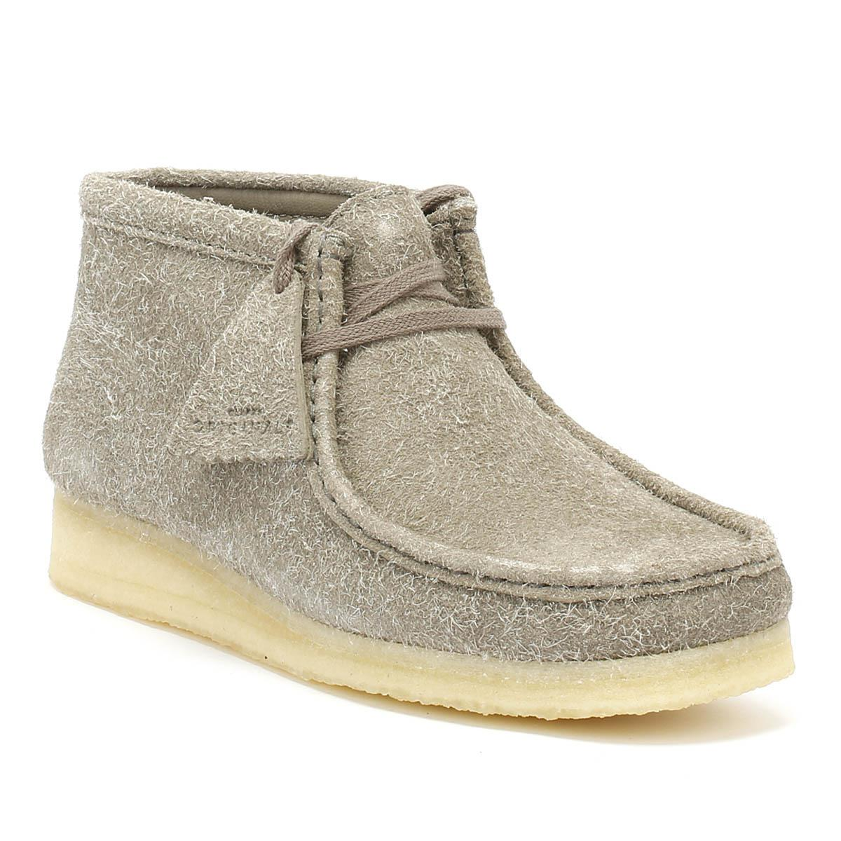 Clarks. Gray Originals Womens Grey Interest Wallabee Boots
