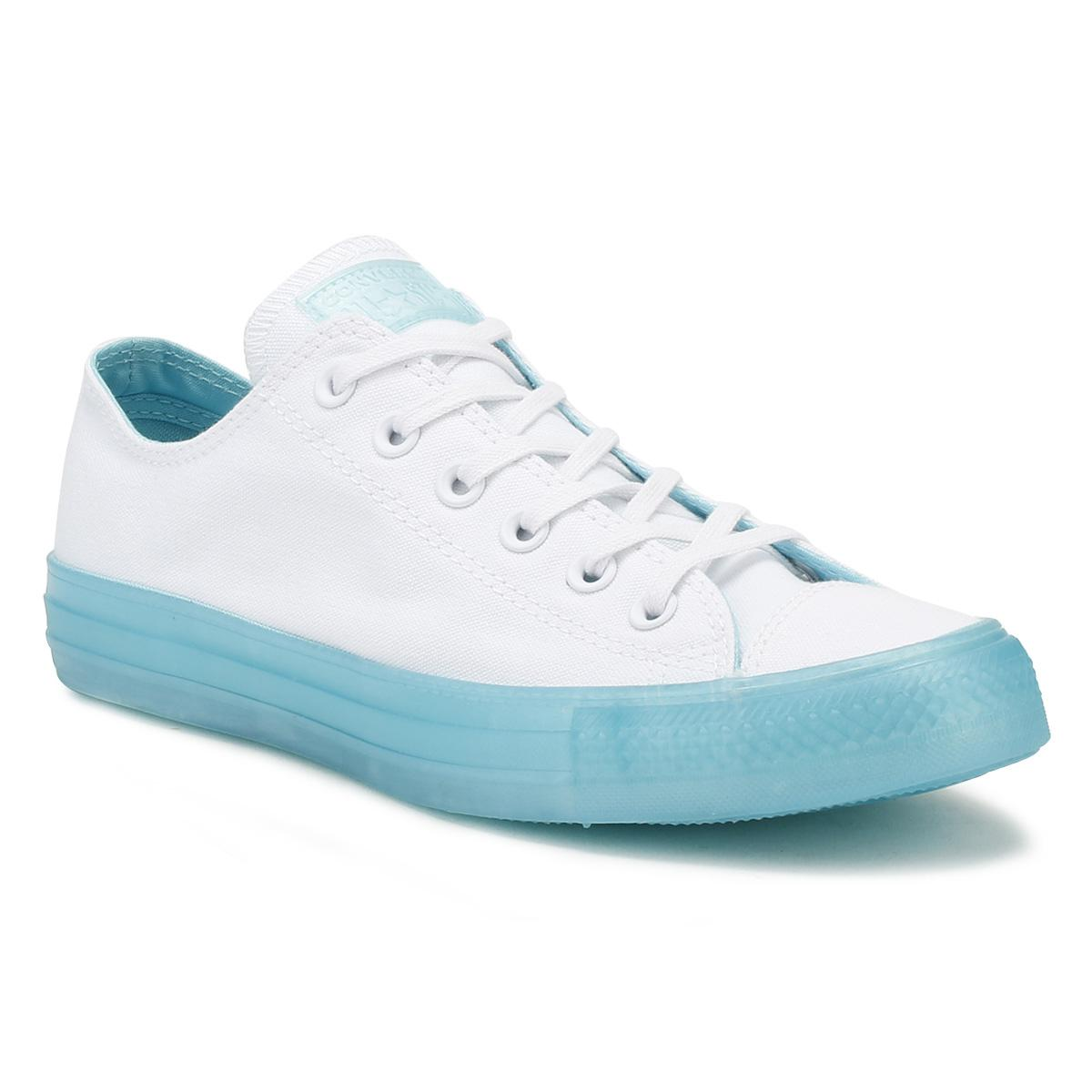 bb0d7d929e85 Lyst - Converse All Star Womens White   Aqua Ox Trainers in Blue