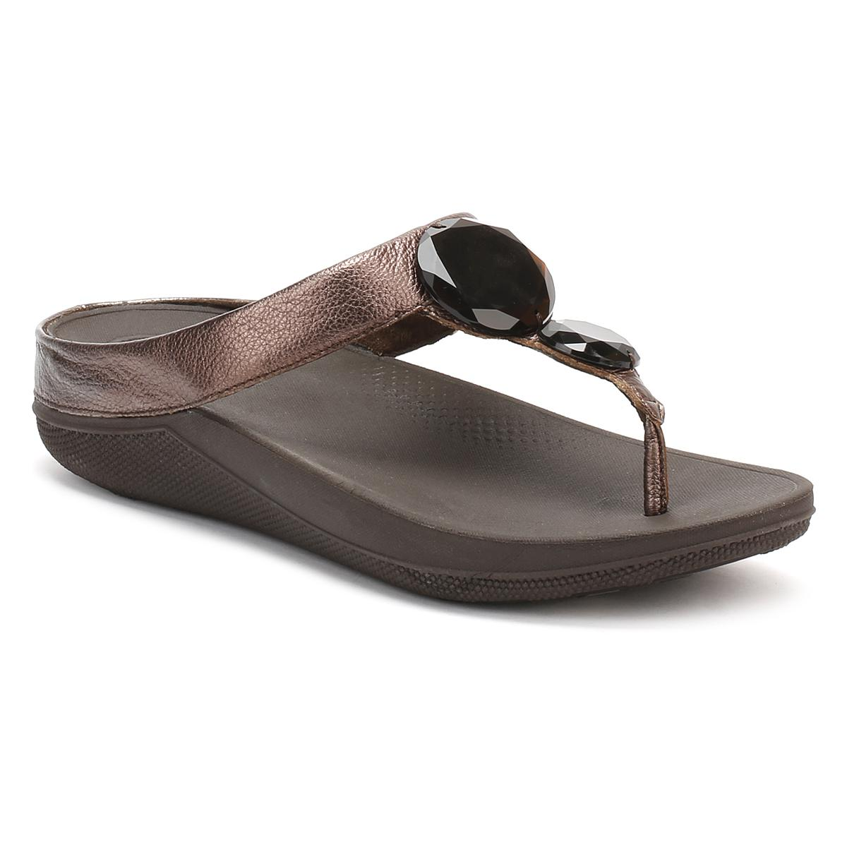 c3d014362 Fitflop Womens Bronze Luna Pop Sandals in Brown - Lyst