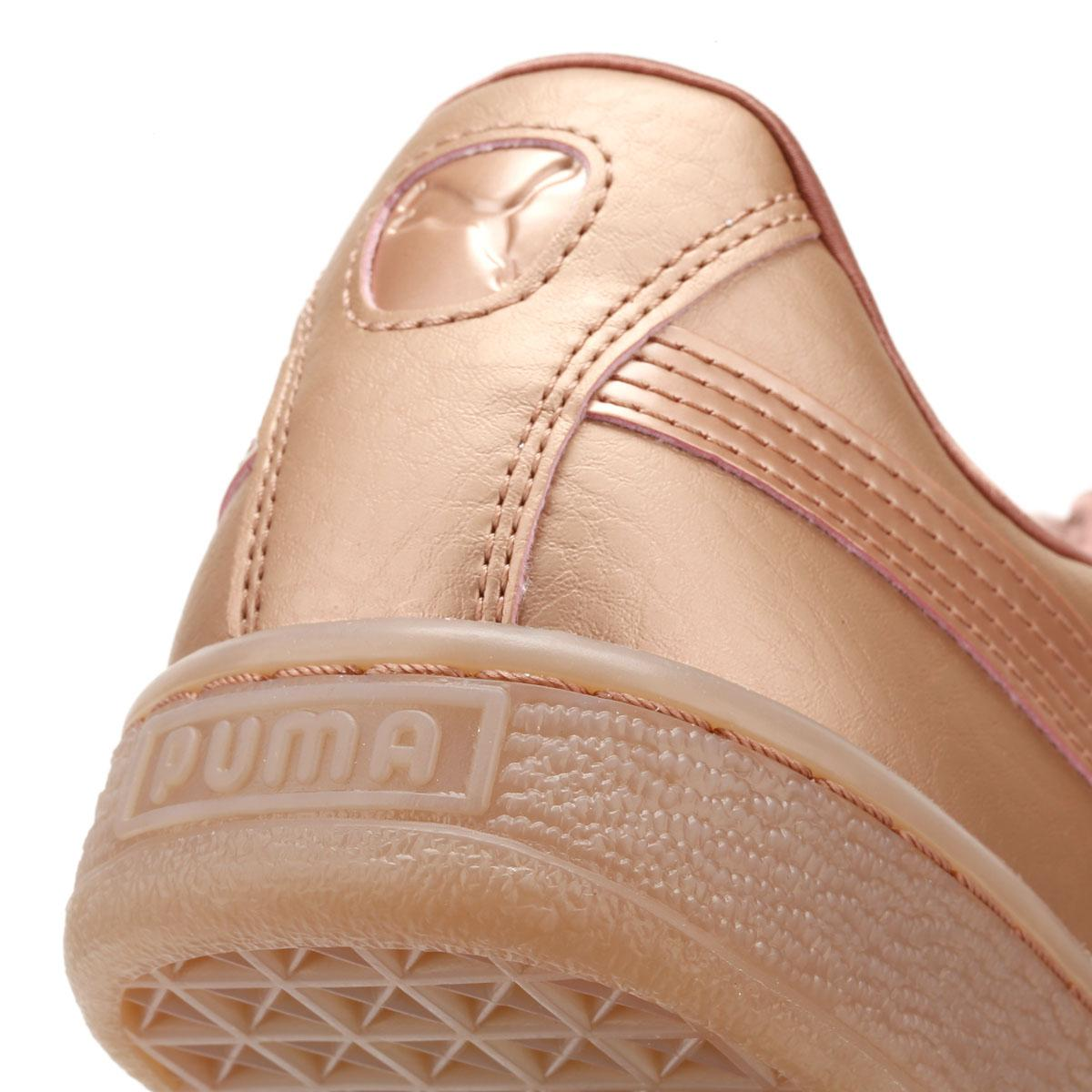 606cdcdc331 Lyst - PUMA Womens Copper Pink Basket Heart Patent Trainers in Pink