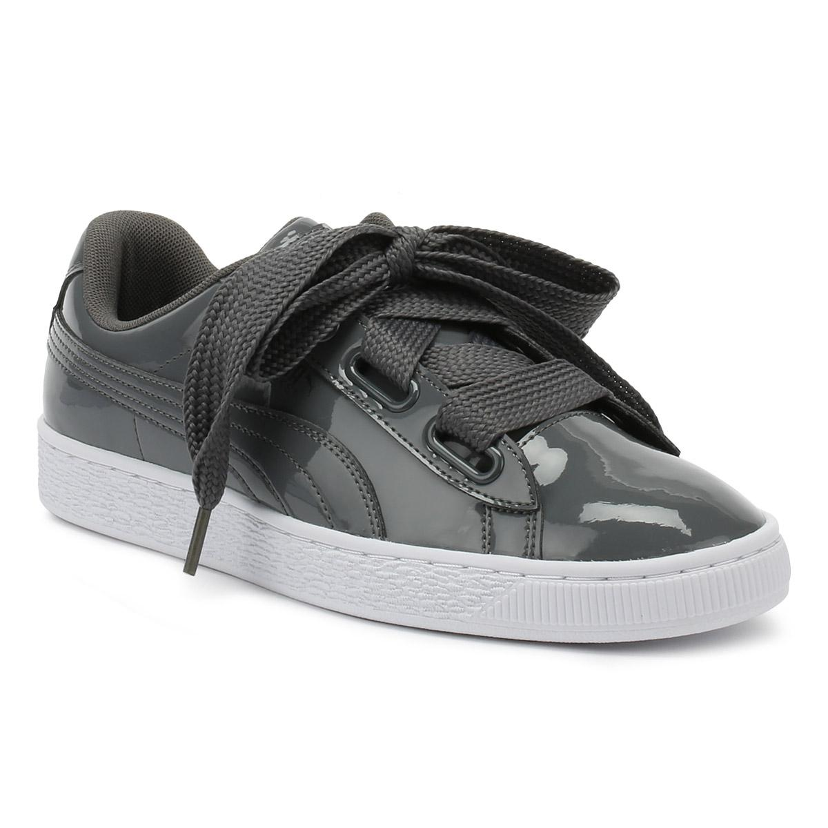 size 40 115af 04453 PUMA Womens Iron Gate Grey Basket Heart Patent Trainers in ...