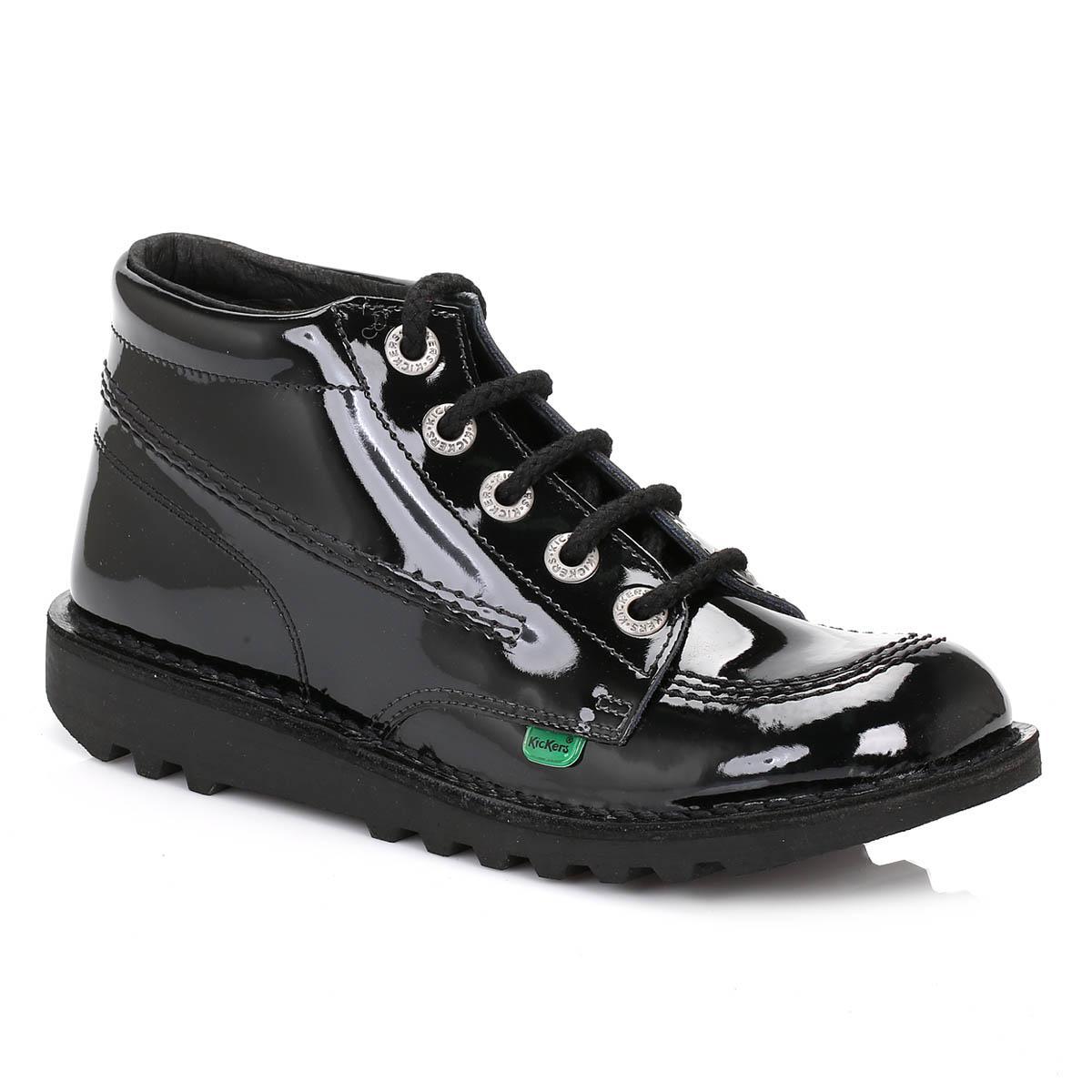 lyst kickers kick hi womens black patent boots in black