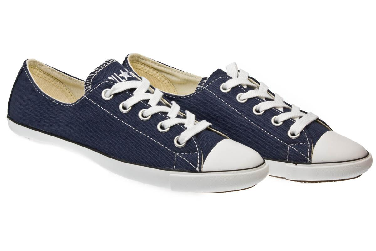 92d2bb8ed4e2 Lyst - Converse As Slim Ox Women Navy Blue And White Canvas Trainers ...