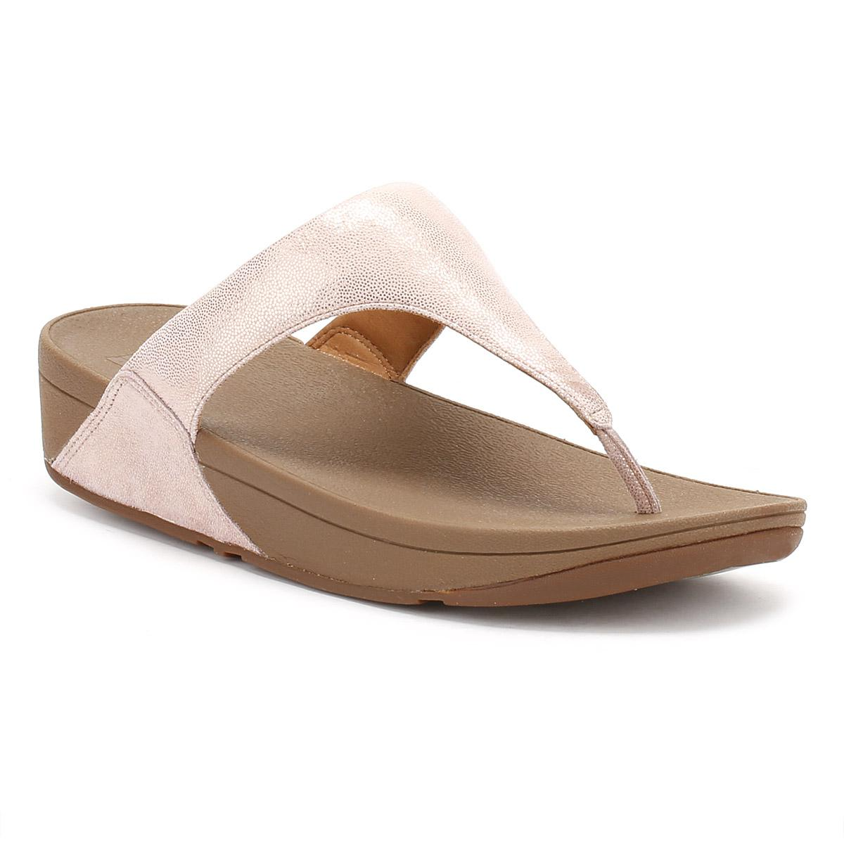 d520b3509 Fitflop Womens Rose Gold Shimmy Suede Toe Post Sandal - Lyst