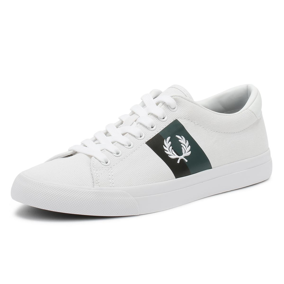 ff3c0c18dd2d3b Fred Perry - Mens White Underspin Plastisol Twill Trainers for Men - Lyst.  View fullscreen