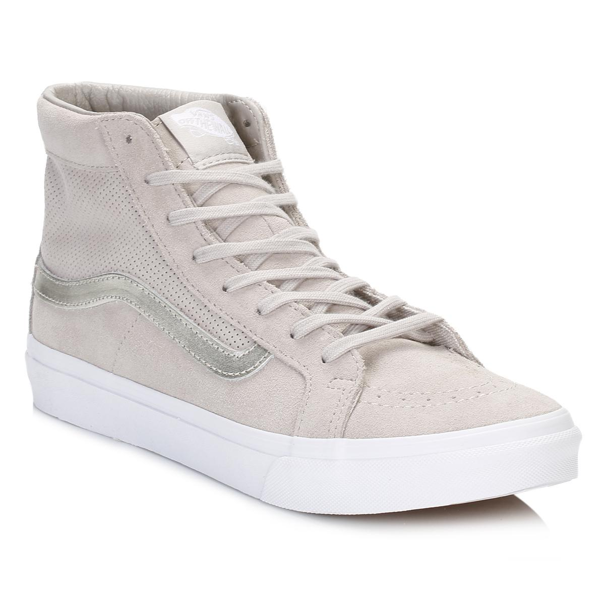 Lyst - Vans Womens Silver Cloud true White Perforated Suede Sk8-hi ... ffefa9179