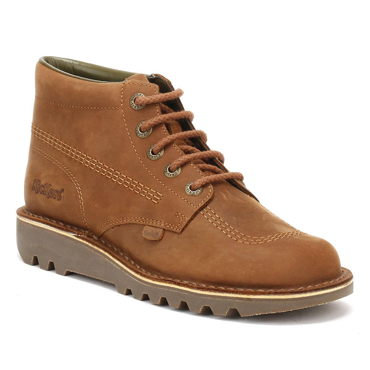 kickers kick hi leather boots in brown for men lyst