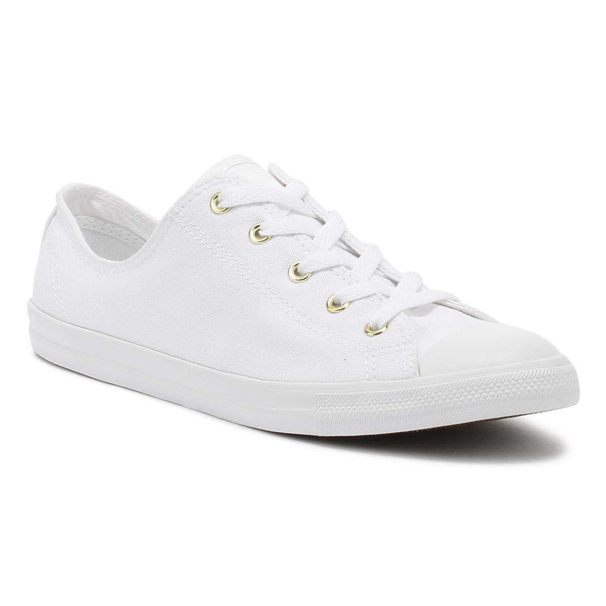 fe27a4c4a724d8 Converse Chuck Taylor All Star Womens White   Gold Dainty Ox ...