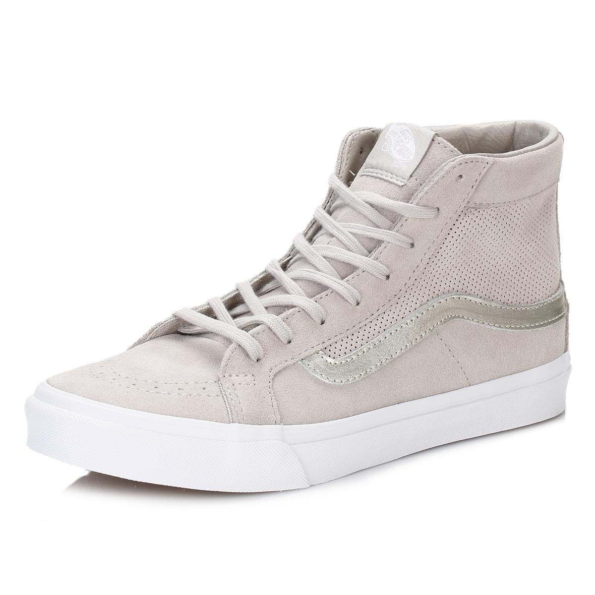 02b8b0531 Vans Womens Silver Cloud/true White Perforated Suede Sk8-hi Trainers ...