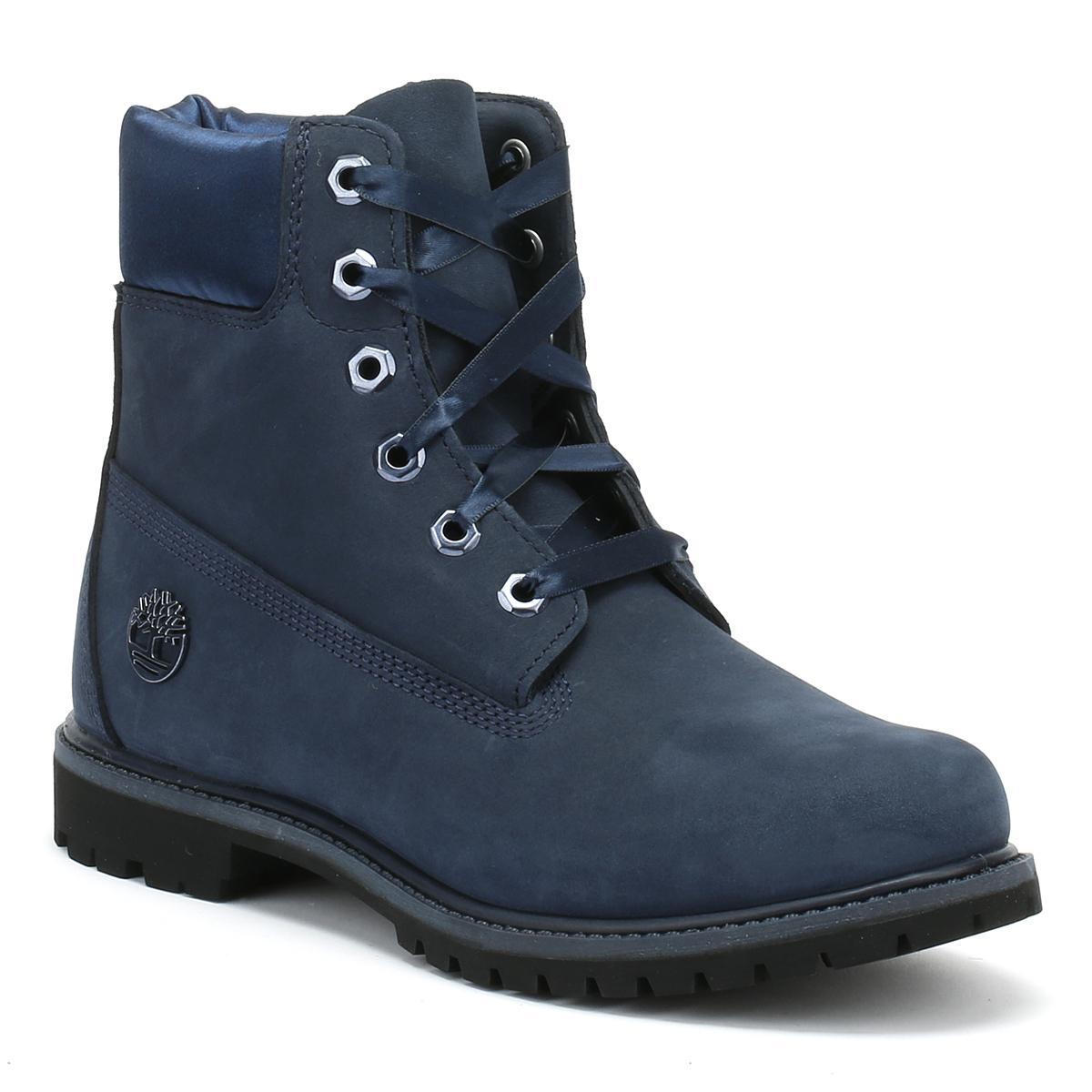 best cheap 09fe3 4d0cf Timberland 6 Inch Premium Womens Blue Waterbuck   Satin Boots in ...