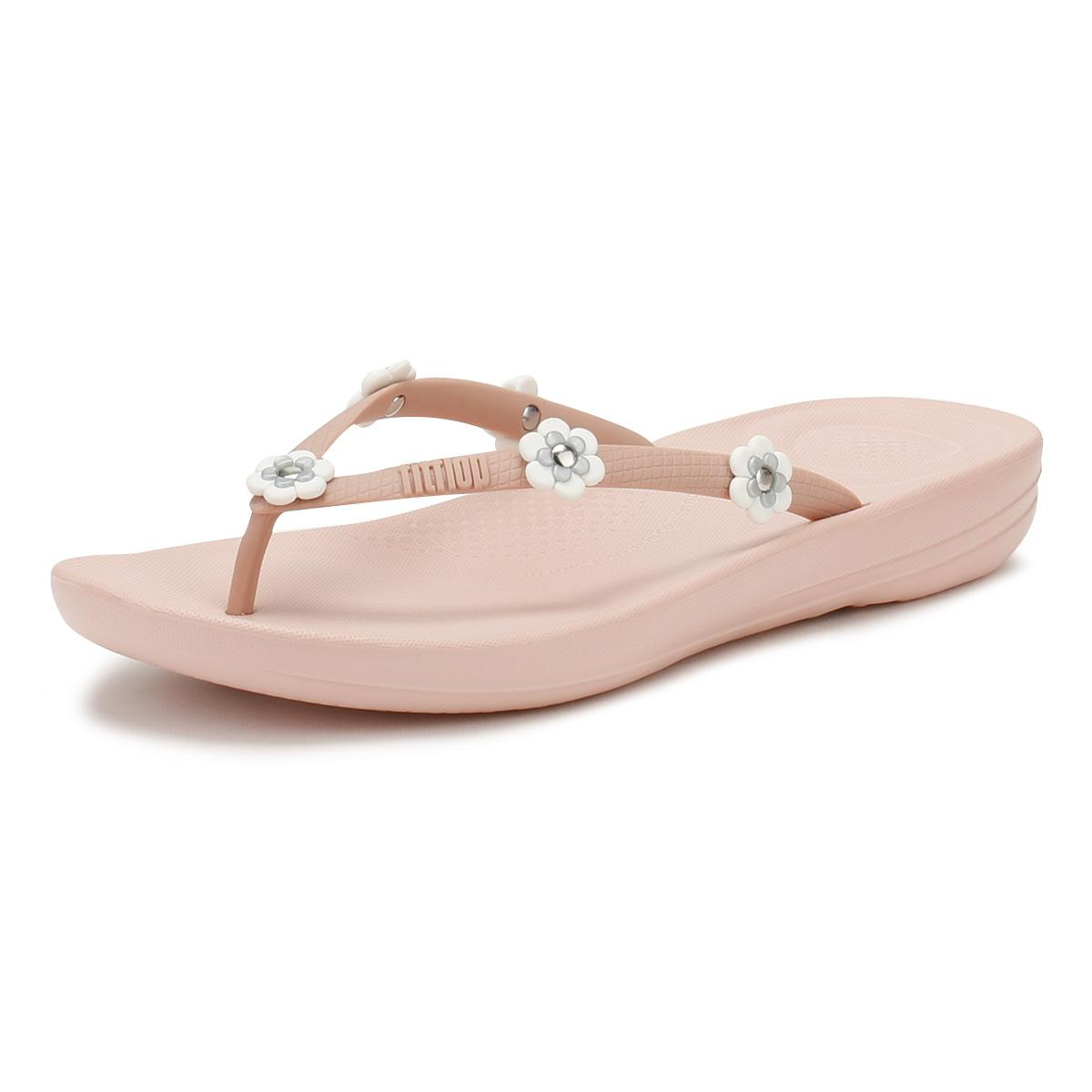 231e0a7ed Fitflop Womens Flower Nude Mix Iqushion Ergonomic Flip Flops in Pink ...