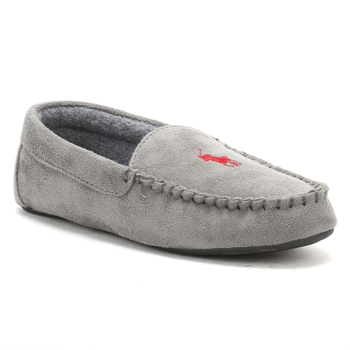99bb08b0a Ralph Lauren Mens Grey / Burgundy Dezi Ii Moccasin Slippers in Gray ...
