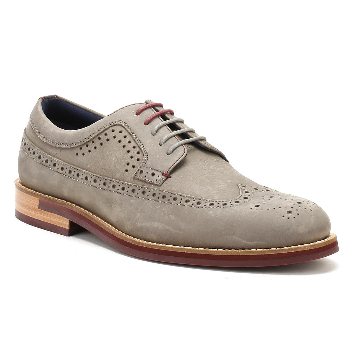 3f6a6af3071b Lyst - Ted Baker Mens Grey Nubuck Fanngo Brogue Shoes in Gray for Men