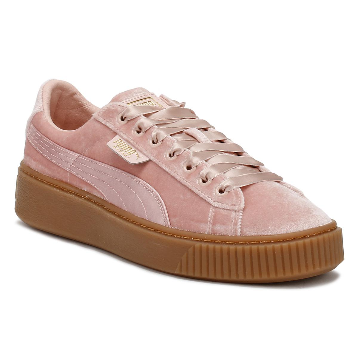 354fb14472dd PUMA Womens Pink   Gum Velvet Basket Platform Trainers Women s Shoes ...