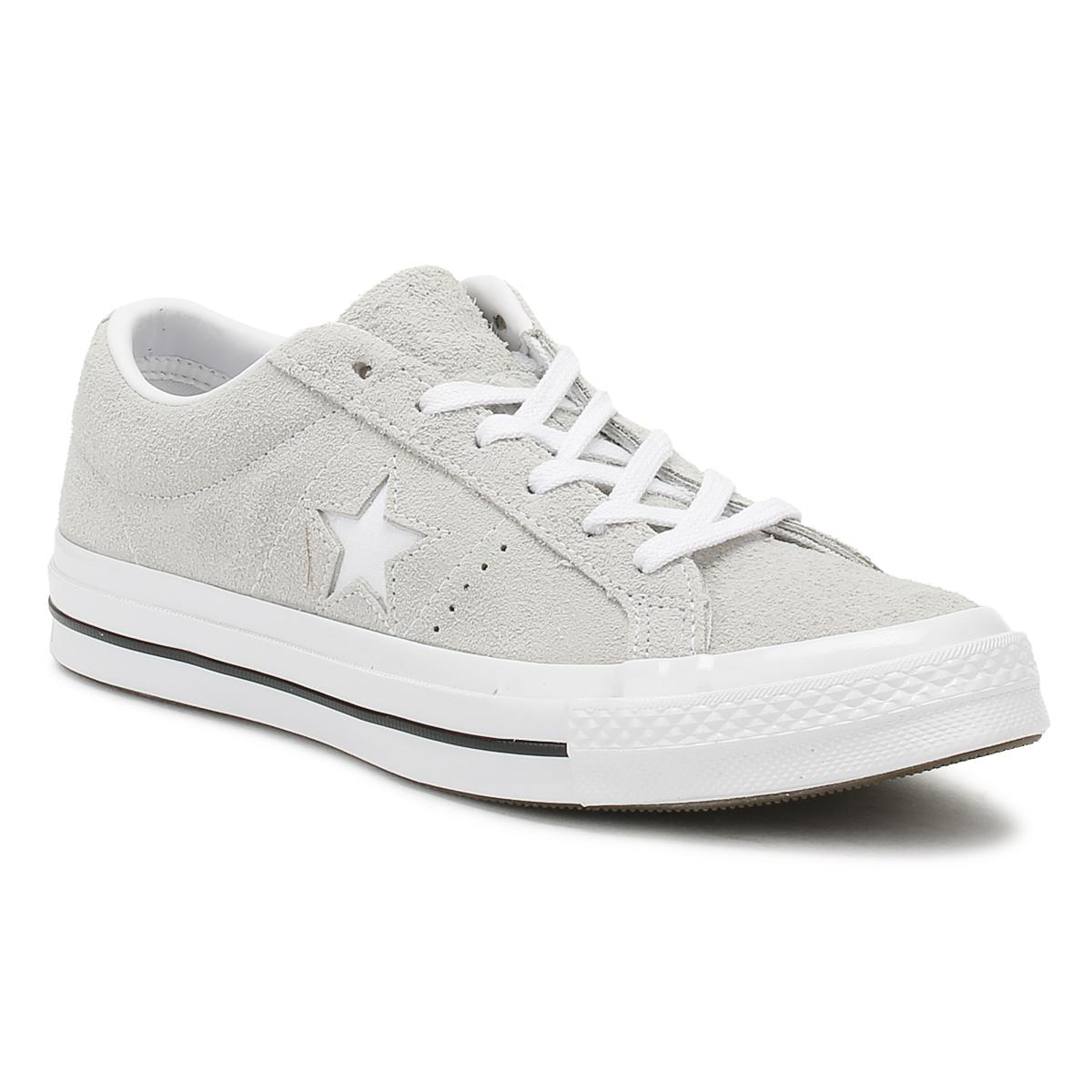 Converse One Star Mens Ash Grey Premium Suede Ox Trainers in Gray ... e5653a9d93