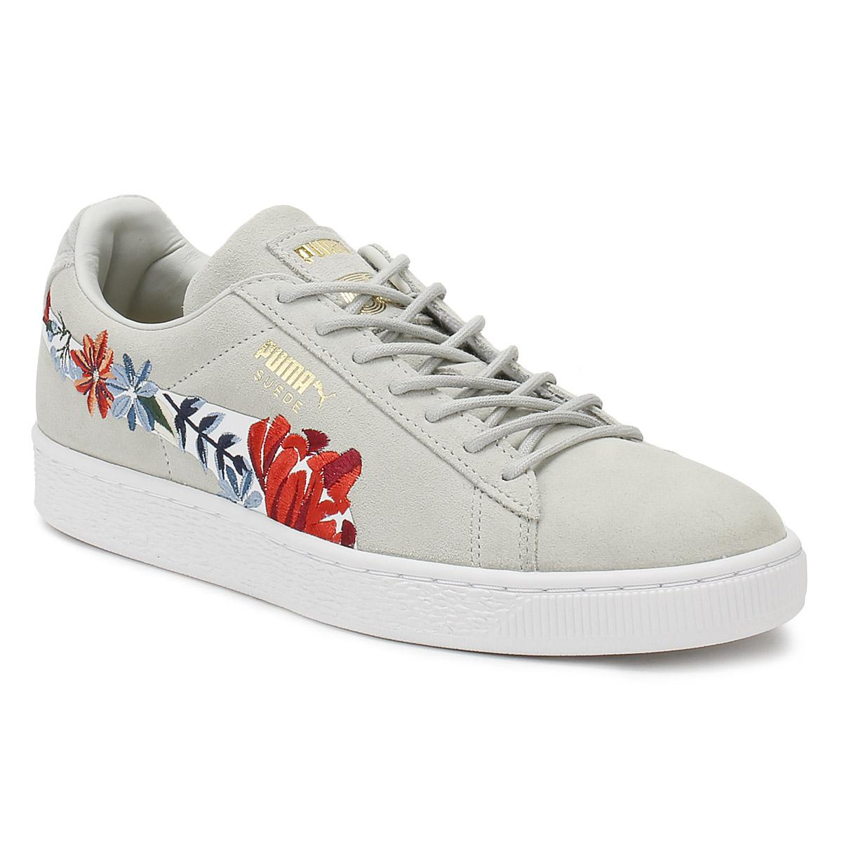 Puma Womens Glacier Grey Suede Classic Embroidery Trainers in Gray ... 0834fb0c33