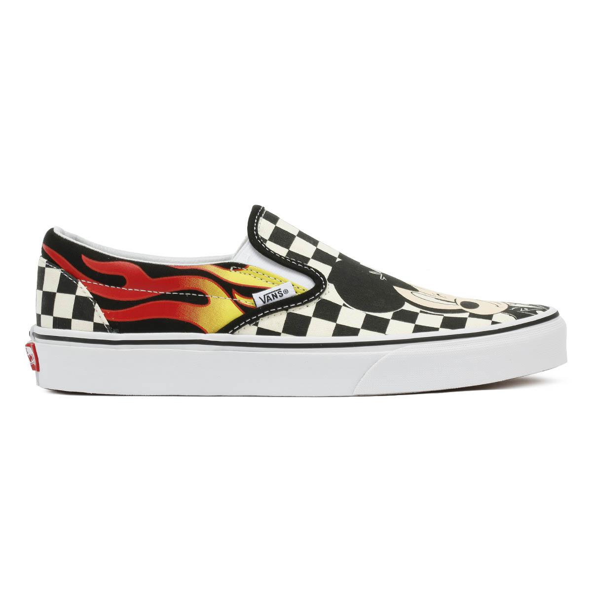13b53c1435e513 Vans Disney Mickey   Minnie Checker Flame Slip On Trainers - Lyst