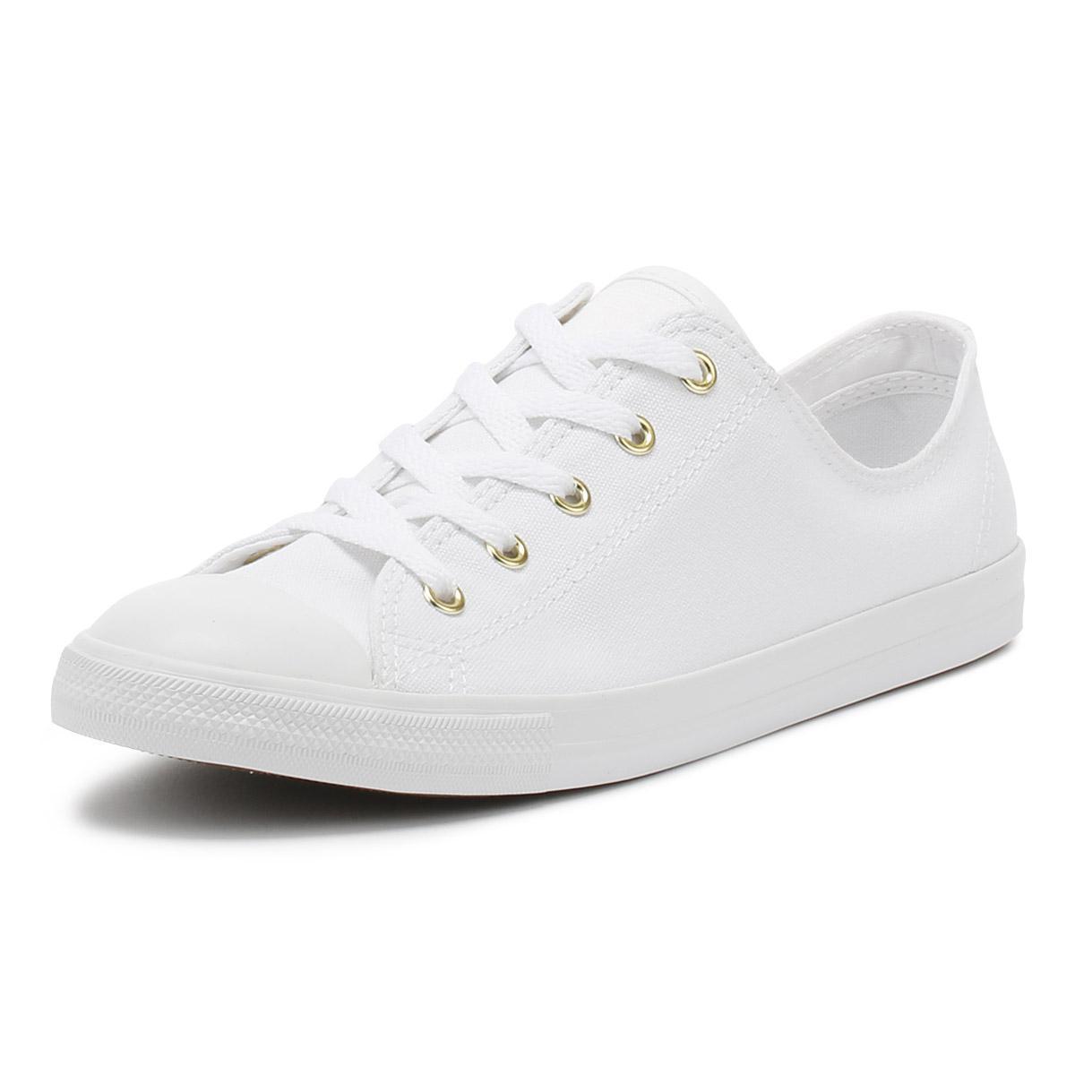 effb54ef42b3b Converse Chuck Taylor All Star Womens White   Gold Dainty Ox ...
