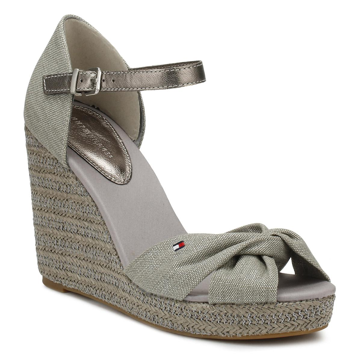 57a145b1781836 Lyst - Tommy Hilfiger Womens Light Grey Metallic Elena Wedge Sandals ...