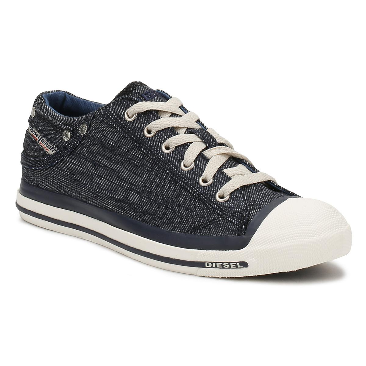 Lyst - DIESEL Mens Indigo Blue   White Denim Exposure Low Trainers ... 38f76dc160e