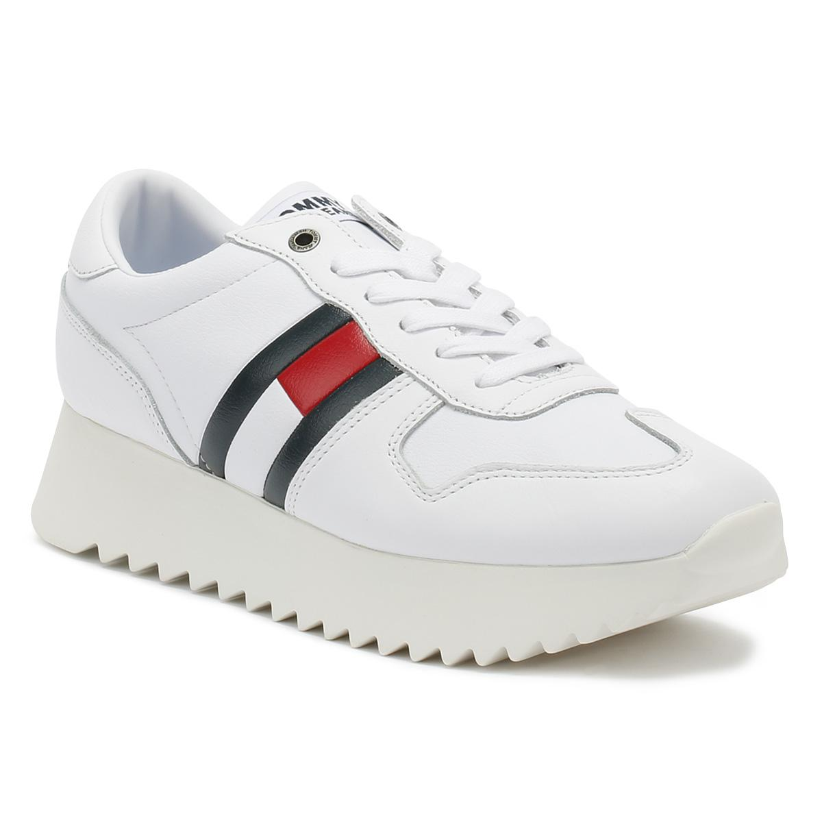 308a3f38 Tommy Hilfiger Womens White High Cleated Trainers in White - Lyst