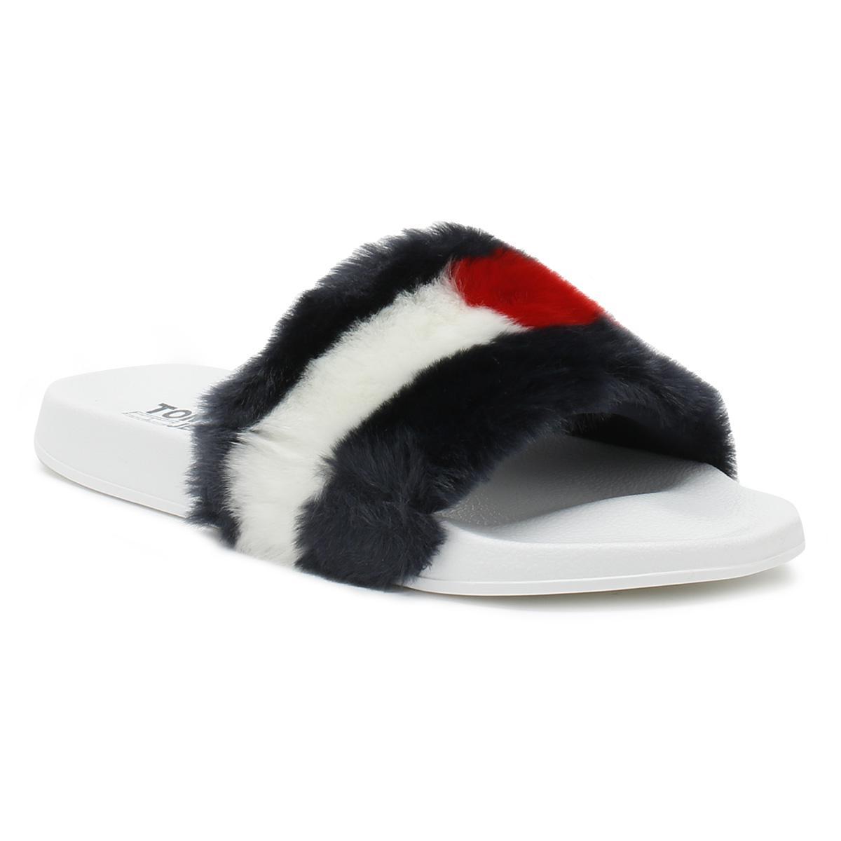 3ef9686e69cd Tommy Hilfiger Womens Rwb Funny Fur Pool Slides - Lyst