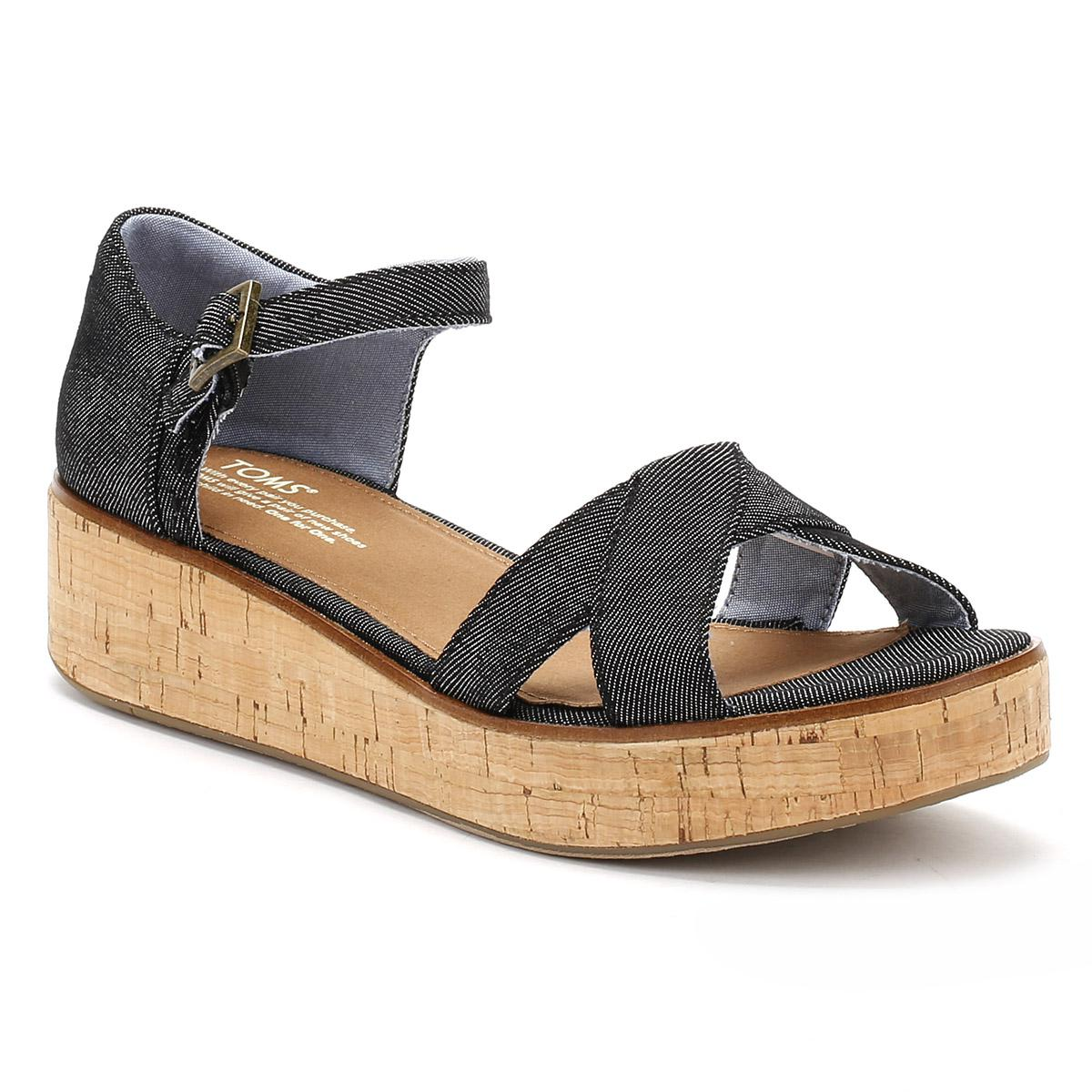 0680a054663 TOMS Womens Black Denim Harper Platform Wedge Sandals in Black - Lyst