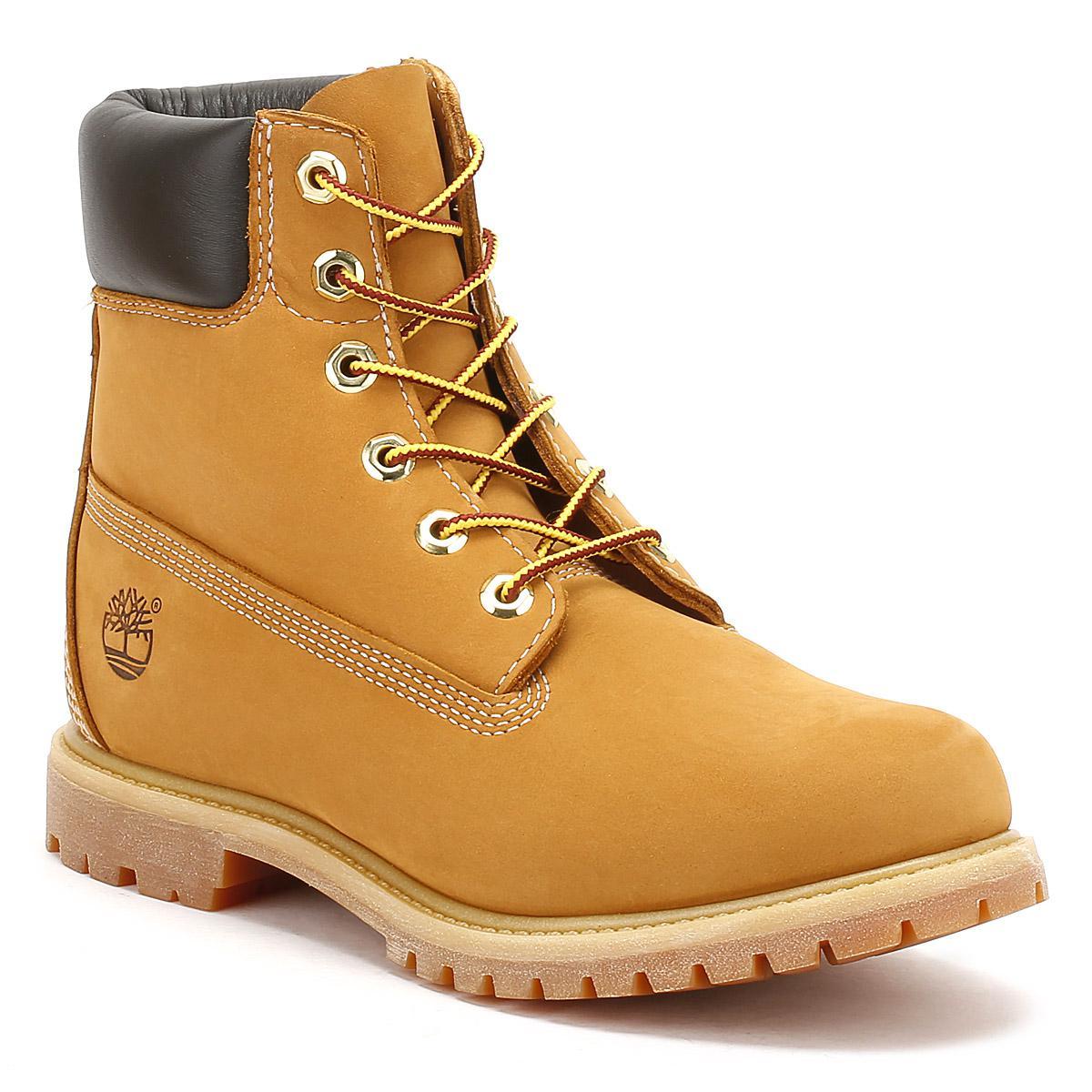 f0b47b3863cd Timberland Womens Wheat Premium 6 Inch Nubuck Leather Boots in Brown ...