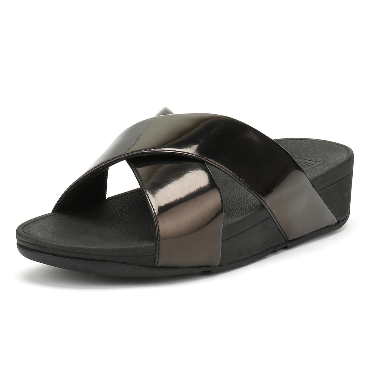406f4caaa Lyst - Fitflop Womens Black Mirror Lulutm Cross Slide Sandals in Black