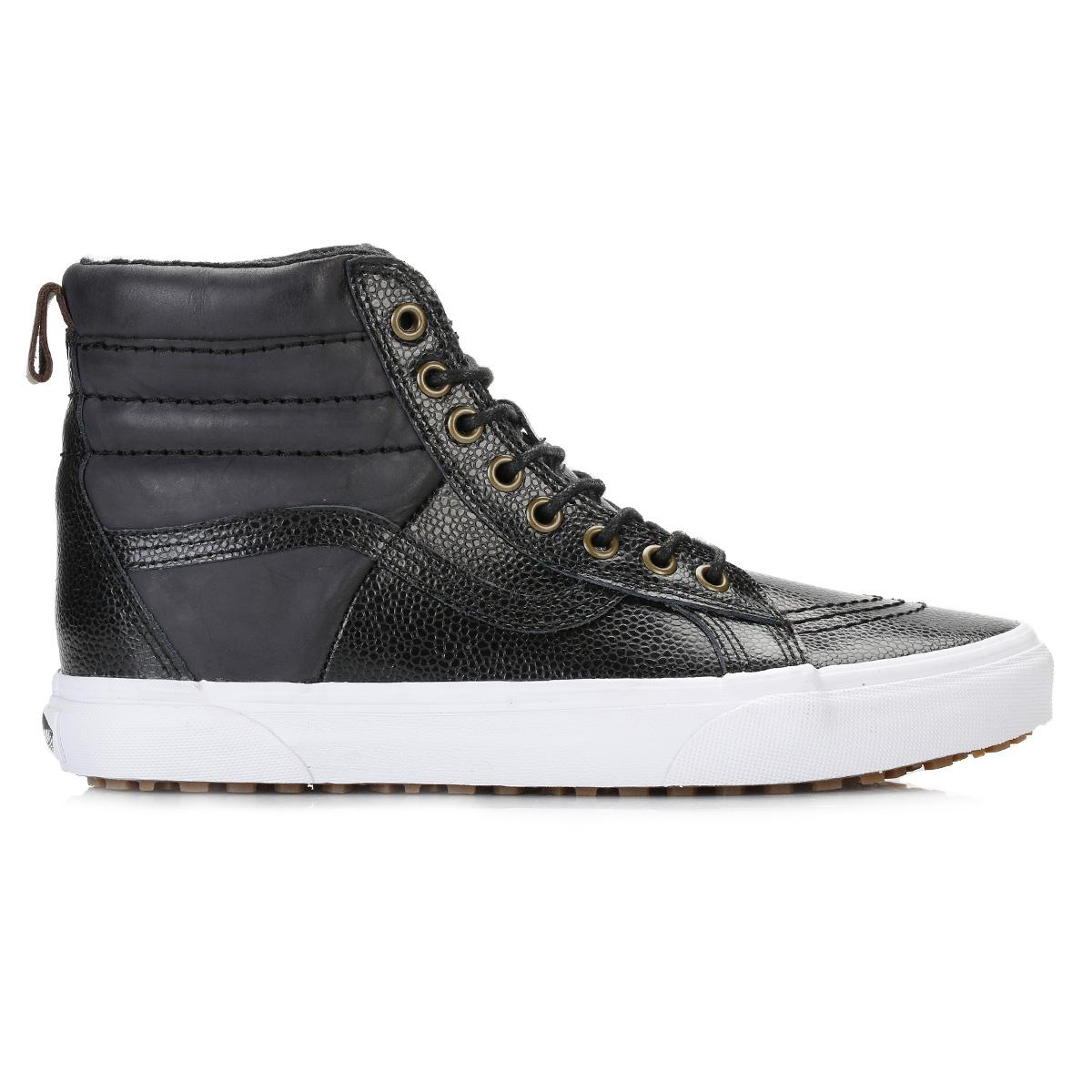 37d645be7e9 Lyst - Vans Womens Black Pebble Leather Sk8-hi 46 Mte Trainers in Black