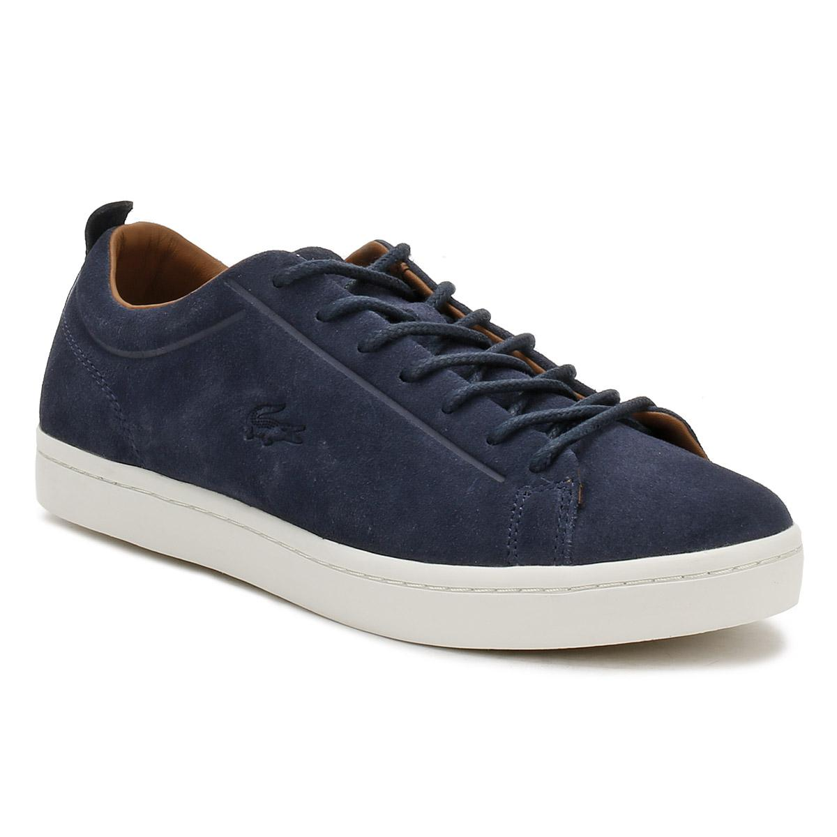 73624dffe611c Lyst - Lacoste Mens Navy Straightset 317 3 Trainers in Blue for Men ...
